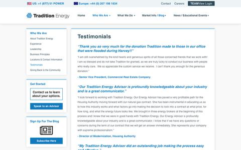 Screenshot of Testimonials Page traditionenergy.com - Tradition Energy Testimonials - captured Nov. 9, 2019