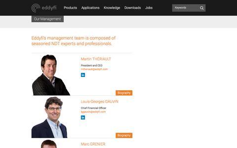 Screenshot of Team Page eddyfi.com - Our Management - Eddyfi - captured July 16, 2018