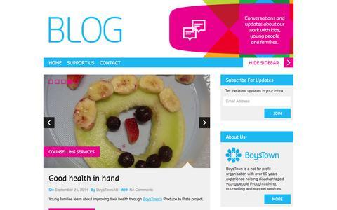 Screenshot of Blog boystown.com.au - BoysTown Australia Blog - Fresh Start. New Hope. - captured Sept. 24, 2014