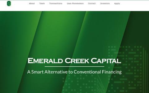 Screenshot of Home Page emeraldcreekcapital.com - Emerald Creek Capital - Commercial Real Estate Bridge Loans - captured May 17, 2017