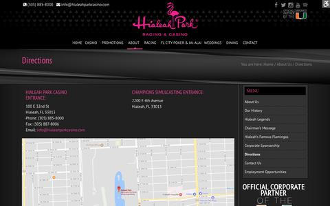 Screenshot of Maps & Directions Page hialeahparkcasino.com - Directions - Hialeah Park Racing & Casino - captured Nov. 26, 2017