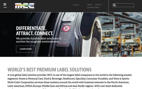Screenshot of Home Page mcclabel.com - Multi-Color Corporation | Premium Labels - captured Sept. 28, 2018