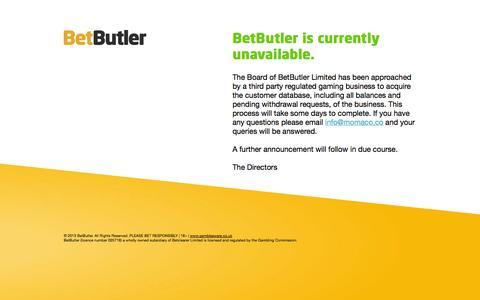 Screenshot of Home Page betbutler.co.uk - BetButler Unavailable - captured Sept. 22, 2014