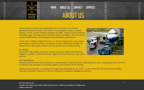 Screenshot of About Page enigmaaviationservices.com - ABOUT US - captured Jan. 23, 2016