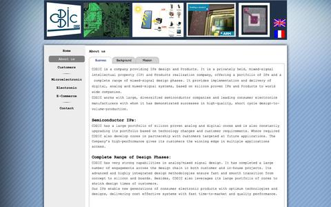Screenshot of About Page cdd-ic.com - About us - consulting in electronics and microelectronics - captured Sept. 26, 2014