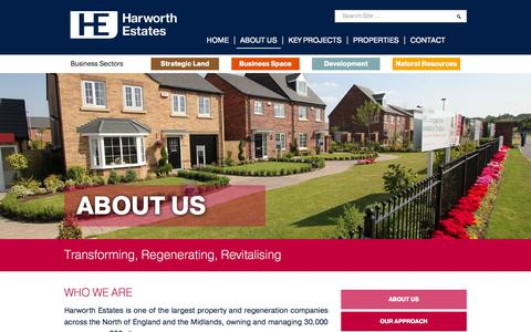 Screenshot of About Page harworthestates.co.uk - Harworth Estates | Transforming, Regenerating, Revitalising - captured Sept. 29, 2014