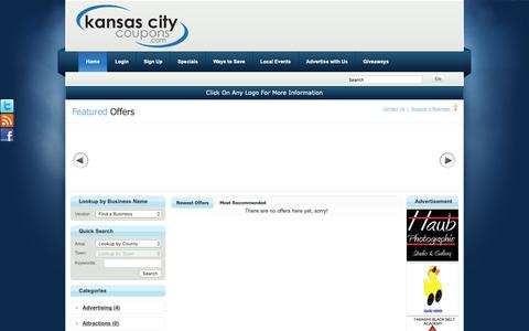 Screenshot of Home Page Privacy Page kansascitycoupons.com - Kansas City Coupons   Kansas City Coupons - Need a Kansas City coupon? Get the best coupons with KansasCityCoupons.com! - captured Nov. 15, 2018