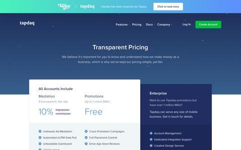 Screenshot of Pricing Page tapdaq.com - Tapdaq | Pricing - captured Nov. 18, 2018