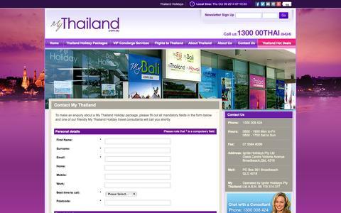 Screenshot of Contact Page mythailand.com.au - Contact | My Thailand - captured Oct. 9, 2014