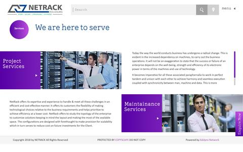 Screenshot of Services Page netrackindia.com - Network Rack Enclosures   Cabinets   Server Rack Enclosures - captured Sept. 28, 2018