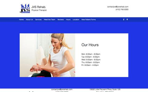 Screenshot of Hours Page jvsrehab.com - Hours | JVS Rehab. - captured July 8, 2018