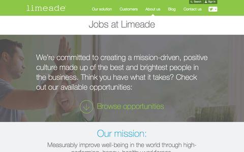 Screenshot of Jobs Page limeade.com - Jobs at Limeade   Limeade - captured Oct. 1, 2015