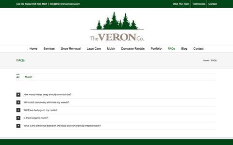 Screenshot of FAQ Page theveroncompany.com - FAQs   The Veron Company - captured Aug. 15, 2016