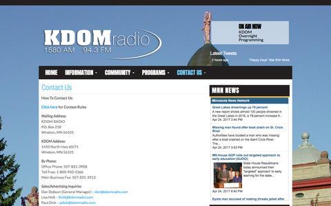 Screenshot of Contact Page kdomradio.com - Contact Us | KDOM Radio - captured April 25, 2017