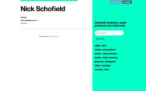 Screenshot of Contact Page nickschofield.com - Contact - Nick Schofield - captured May 18, 2016