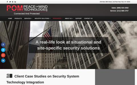 Screenshot of Case Studies Page pom-tec.com - Security Spotlight - Peace of Mind Technologies - captured Sept. 27, 2018