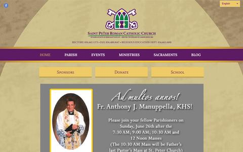 Screenshot of Home Page saintpetermerchantville.com - Saint Peter Roman Catholic Church - captured June 19, 2016