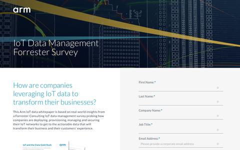 Screenshot of Landing Page arm.com - IoT Data Management Survey from Forrester - captured Sept. 19, 2018