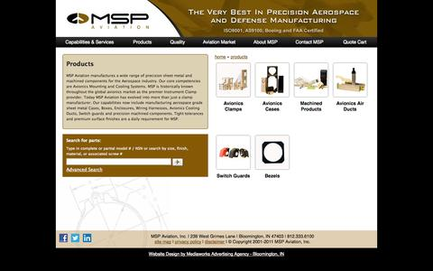 Screenshot of Products Page msp-aviation.com - Products, MSP Aviation Inc. - captured Oct. 4, 2014
