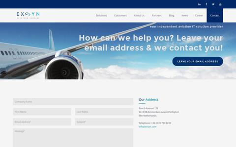 Screenshot of Contact Page exsyn.com - Contact | EXSYN Aviation Solutions - captured Nov. 13, 2016