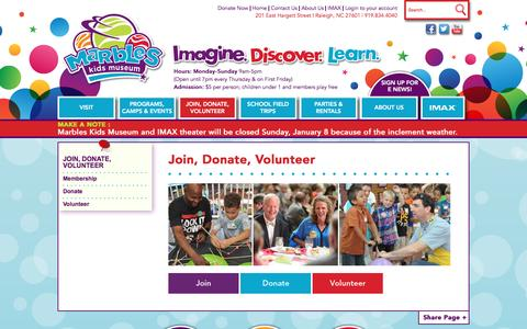 Screenshot of Signup Page marbleskidsmuseum.org - Join, Donate & Volunteer - captured Jan. 8, 2017