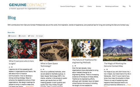Screenshot of Blog genuinecontact.net - Genuine Contact Blog with contributions from GC Professionals Worldwide - captured July 11, 2018
