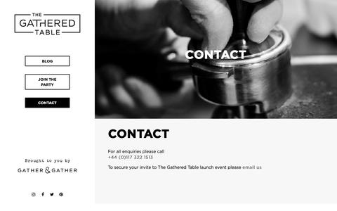 Screenshot of Contact Page gatherandgather.com - The Gathered Table - Contact - captured Sept. 27, 2018