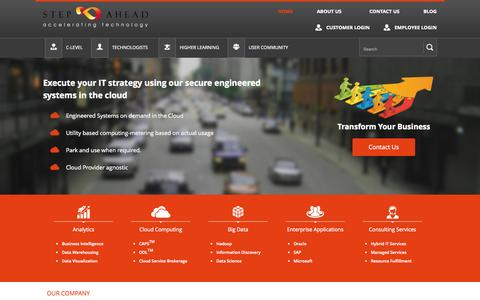 Screenshot of Home Page stepaheadsolution.com - Cloud Computing & Datawarehouse Company | Business Intelligence Software - Step Ahead Solution - captured June 21, 2015