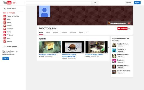 Screenshot of YouTube Page youtube.com - FOODTOOLSinc  - YouTube - captured Oct. 23, 2014