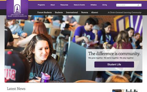 Screenshot of Home Page umhb.edu - Christian University, Christian College Scholarship, Nursing Degree - captured Jan. 21, 2016