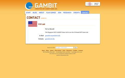 Screenshot of Contact Page mit.edu - GAMBIT: Contact Us - captured Sept. 13, 2014