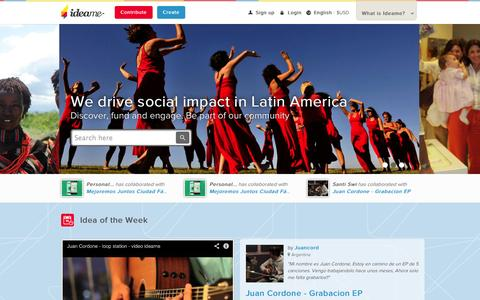 Screenshot of Home Page idea.me - Ideame - Latin America's crowdfunding platform - captured Sept. 16, 2014