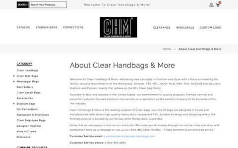 Screenshot of About Page clear-handbags.com - About Clear Handbags & More - Clear Handbags & More - captured Oct. 14, 2019