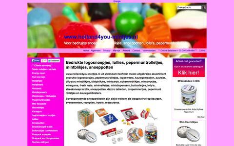 Screenshot of Home Page holland4you-mintjes.nl - Logosnoepjes - mintblikjes - pepermuntrolletjes - lolly's - snoeppotten | Hoge korting ! - captured Oct. 2, 2014