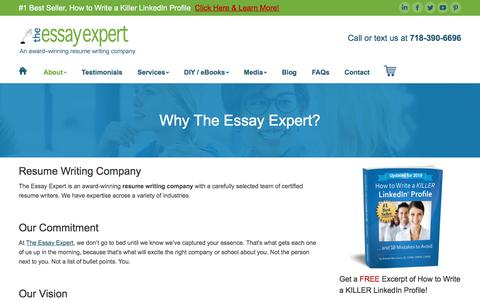 Screenshot of About Page theessayexpert.com - Resume Writing Company & LinkedIn Profile Services | The Essay Expert - captured Sept. 7, 2019