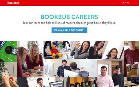 Screenshot of Jobs Page bookbub.com - Careers - BookBub - captured Sept. 13, 2014