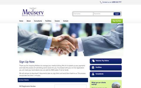 Screenshot of Signup Page medserv.ie - Medserv Medical Billing Services: Consultant Billing, Secretarial Support - captured Jan. 9, 2016