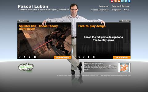 Screenshot of Home Page gamedesignstudio.com - Pascal Luban, Game Design Consultant |  Creative Director - captured Oct. 7, 2014