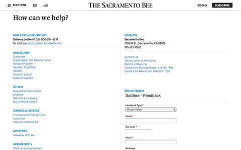 Screenshot of Support Page sacbee.com - Customer Service | The Sacramento Bee - captured Sept. 21, 2018