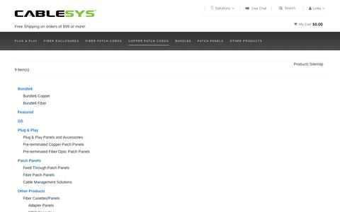 Screenshot of Site Map Page cablesys.com - Site Map - captured July 10, 2016