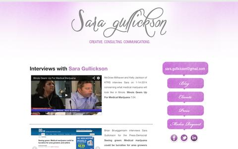 Screenshot of Press Page saragullickson.com - Press - Sara Gullickson | Request an Interview | See Interviews - captured Oct. 3, 2014