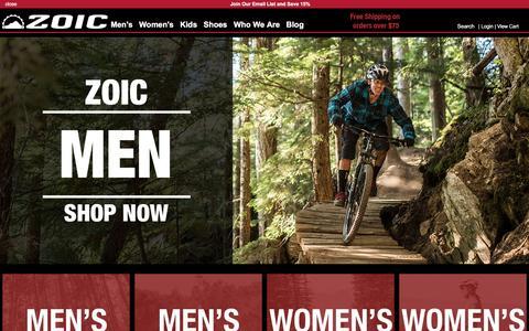 Screenshot of Home Page zoic.com - Mountain Bike Clothing for Men, Women, and Kids | ZOIC Clothing - captured Jan. 22, 2016