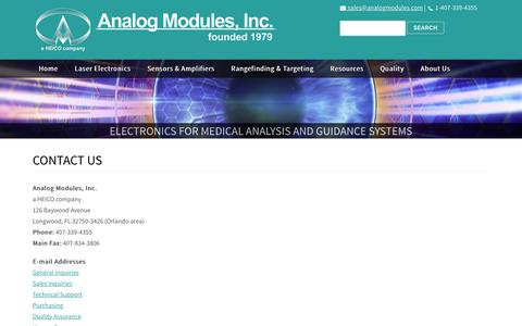 Screenshot of Contact Page analogmodules.com - Laser Electronics | Sensors | Amplifiers | Military Applications | Contact Us | AMI - captured Dec. 3, 2016