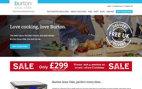 Screenshot of Home Page burtonsousvide.co.uk - Sous Vide Machine | Burton Sous Vide - captured Jan. 7, 2016