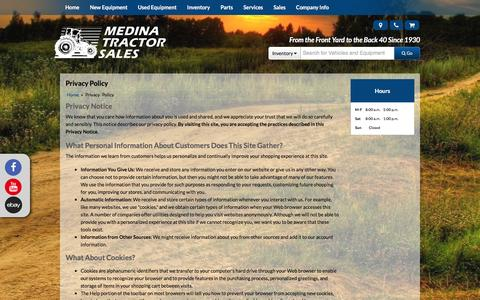 Screenshot of Privacy Page medinatractor.com - Privacy Policy Medina Tractor Sales and Service Medina, OH (330) 725-4951 - captured Feb. 12, 2016