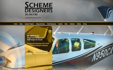 Screenshot of Home Page schemedesigners.com - Scheme Designers • Custom Aircraft Paint Schemes and Vinyl Designs for All Types of Aircraft - captured Feb. 4, 2016