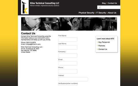 Screenshot of Contact Page klinenm.com - Contact Us | Kline Technical Consulting - captured Feb. 12, 2016