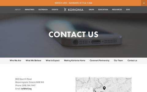 Screenshot of Contact Page kcf.org - Contact us — Koinonia Christian Fellowship - captured Oct. 17, 2017