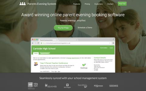 Screenshot of Home Page parentseveningsystem.co.uk - Parents Evening System - Online Parents Evening Booking Software - captured March 14, 2016
