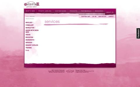 Screenshot of Services Page colorlabprivatelabel.com - Colorlab Private Label :: Resources - captured Oct. 2, 2014